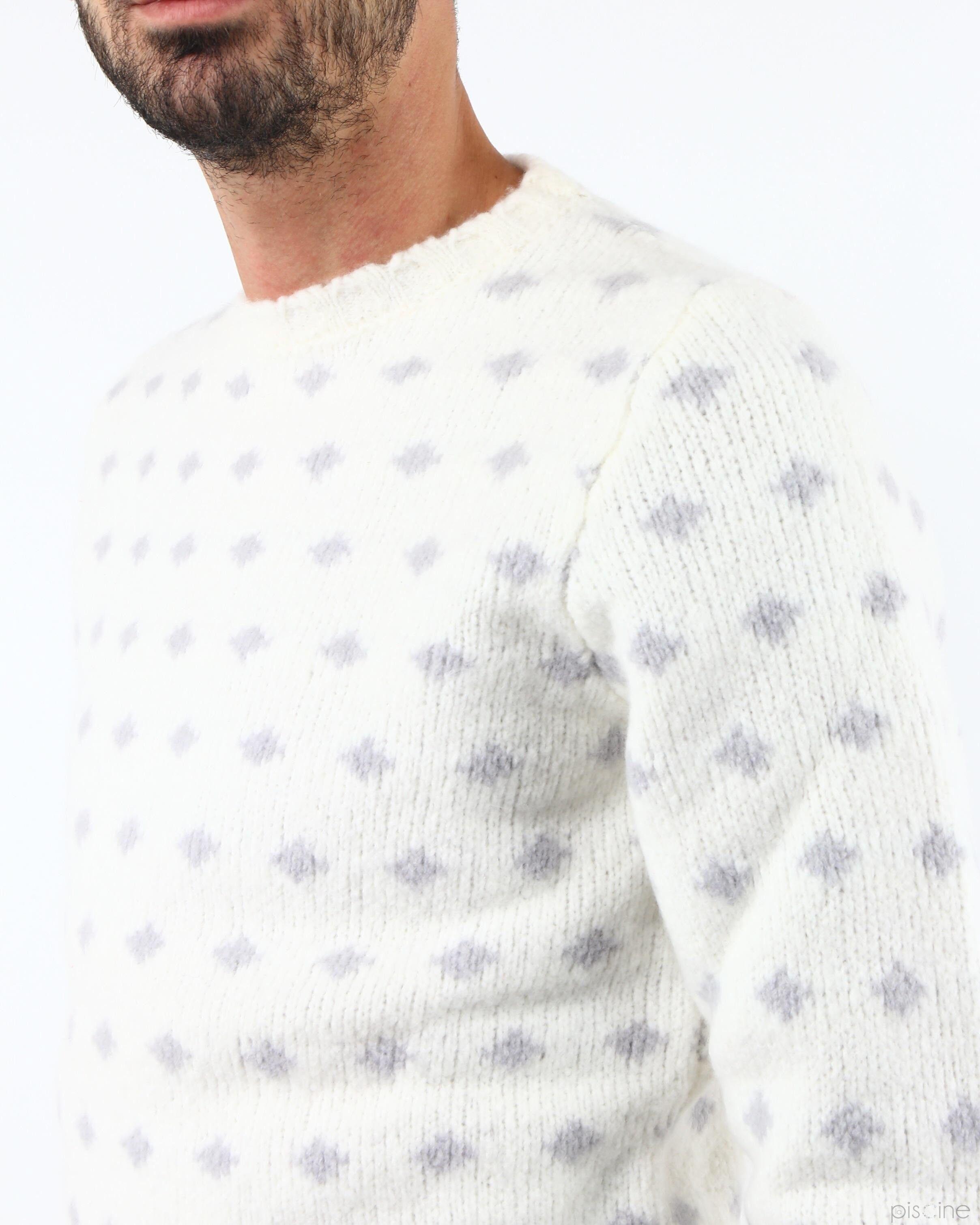 Pull blanc à pois gris Molecole