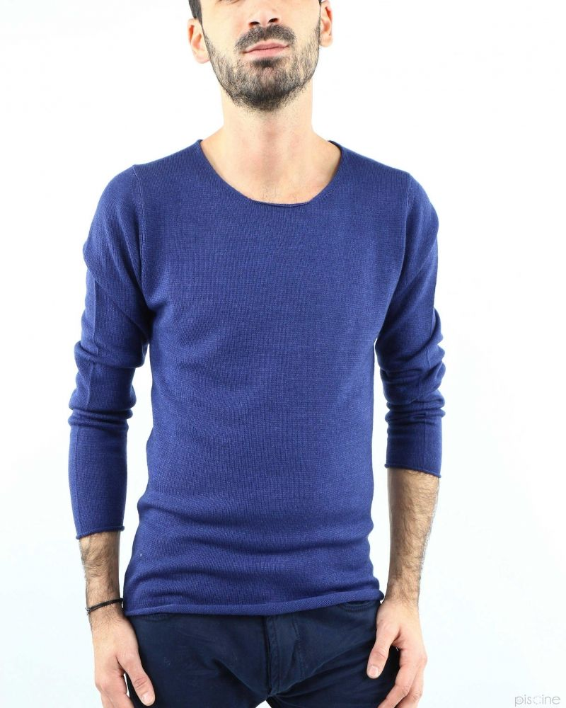 Pull à col rond en laine extrafine bleu Woolgroup Fiesoli