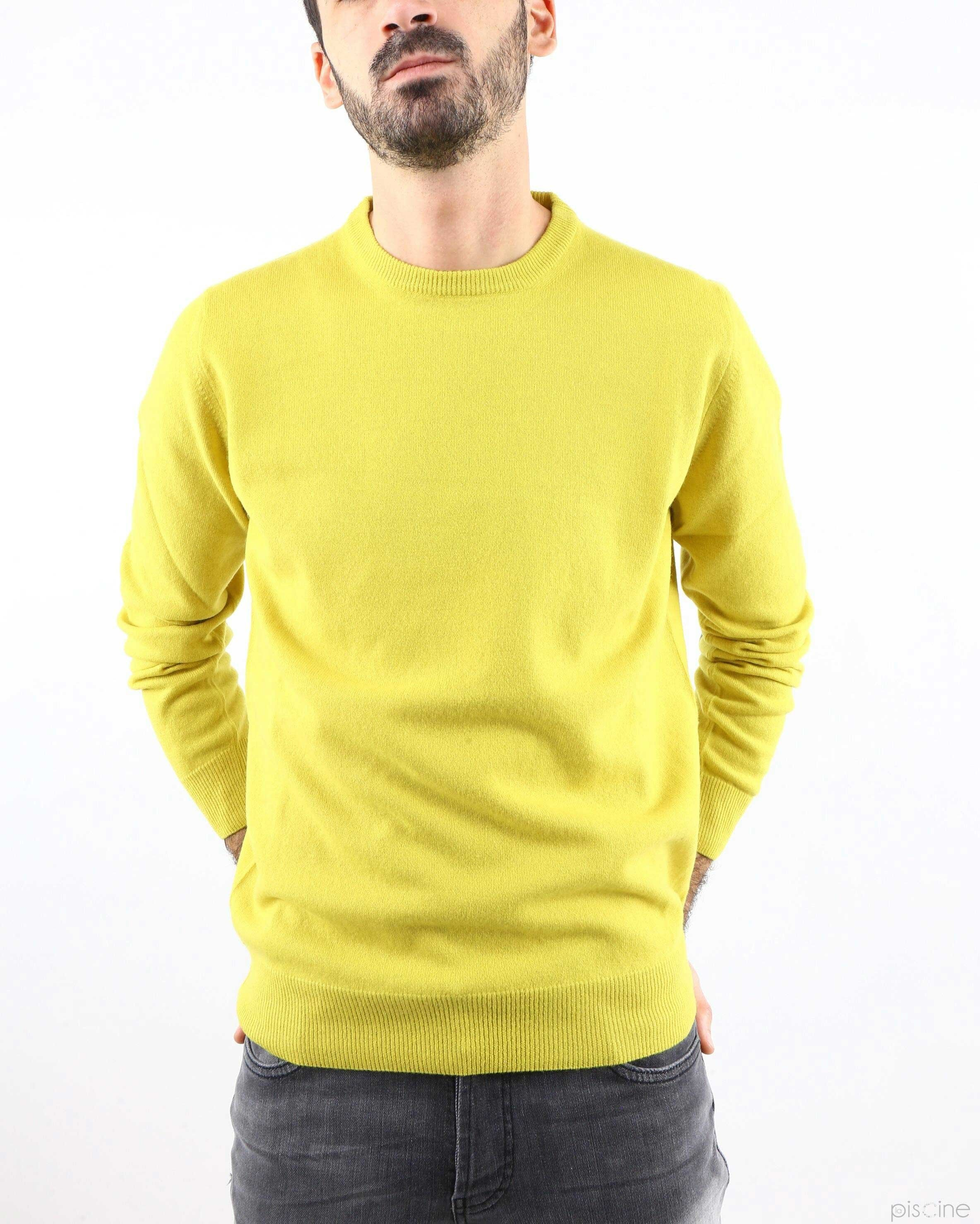 Pull col rond vert anis Panicale