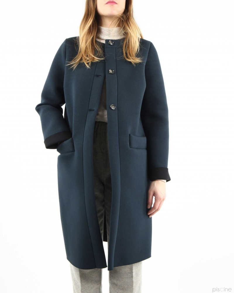 Manteau long bleu Douuod
