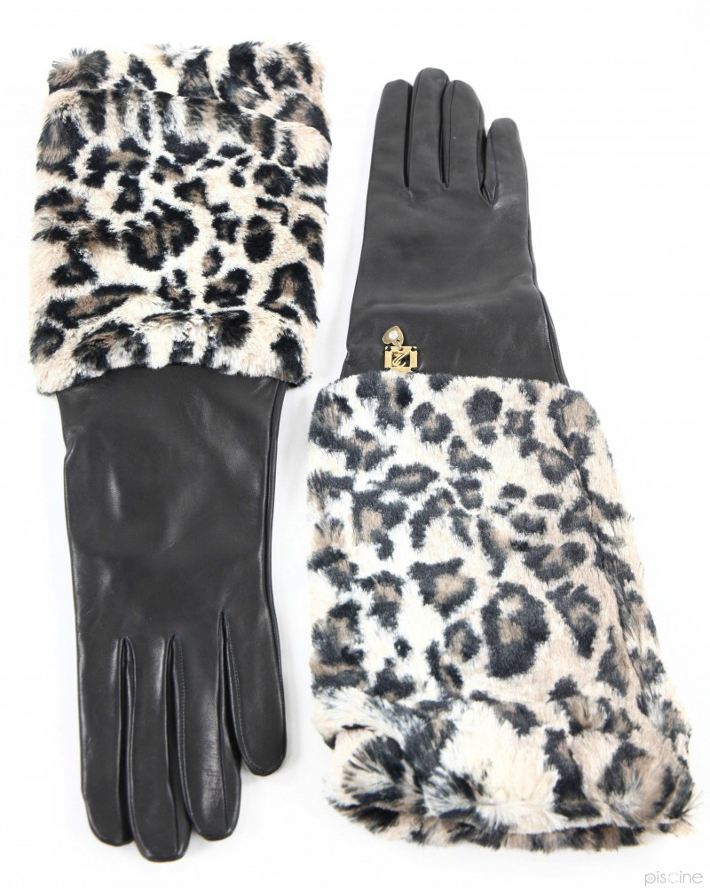 Gants passe-coudes noir et beige Maria Grazia Severi