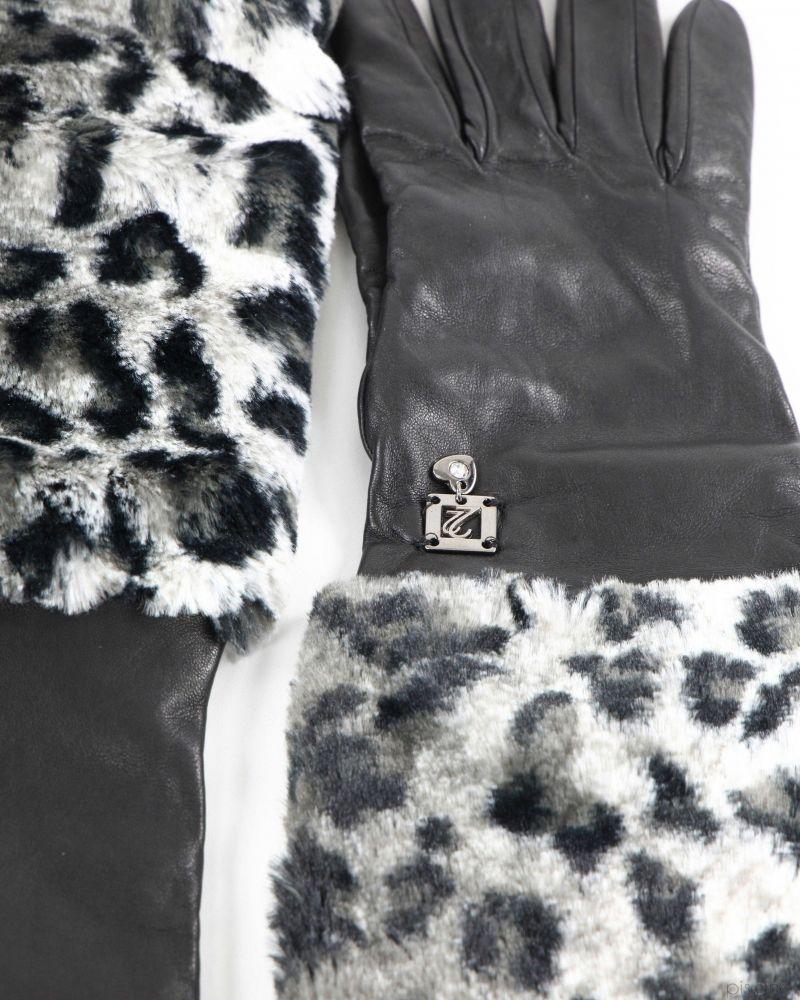 Gants passe-coudes noir et gris Maria Grazia Severi