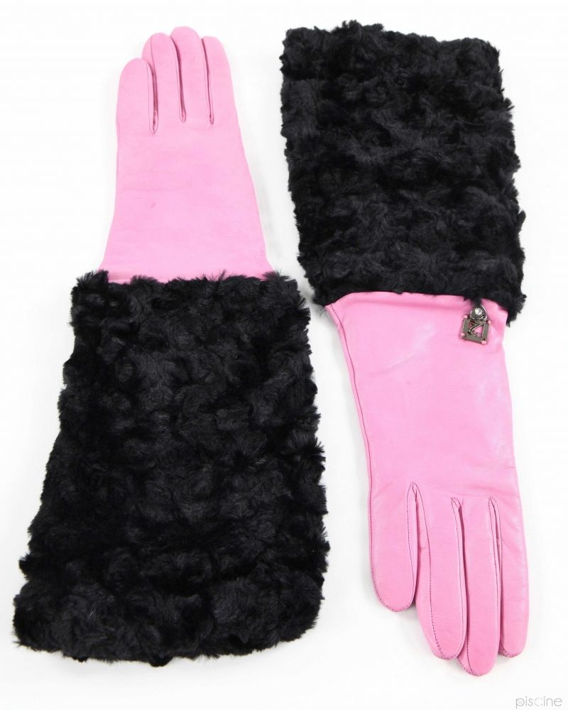 Gants passe-coudes rose et noir Maria Grazia Severi