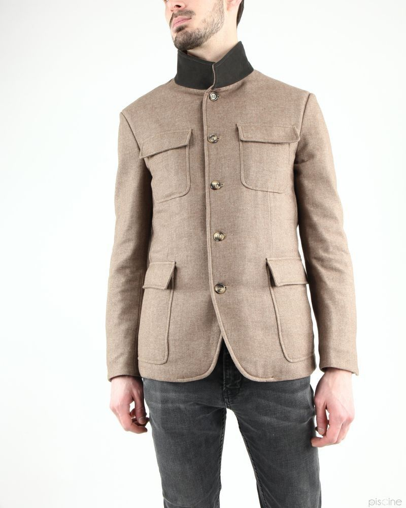 Manteau beige style officier en laine mélangée Aquarama