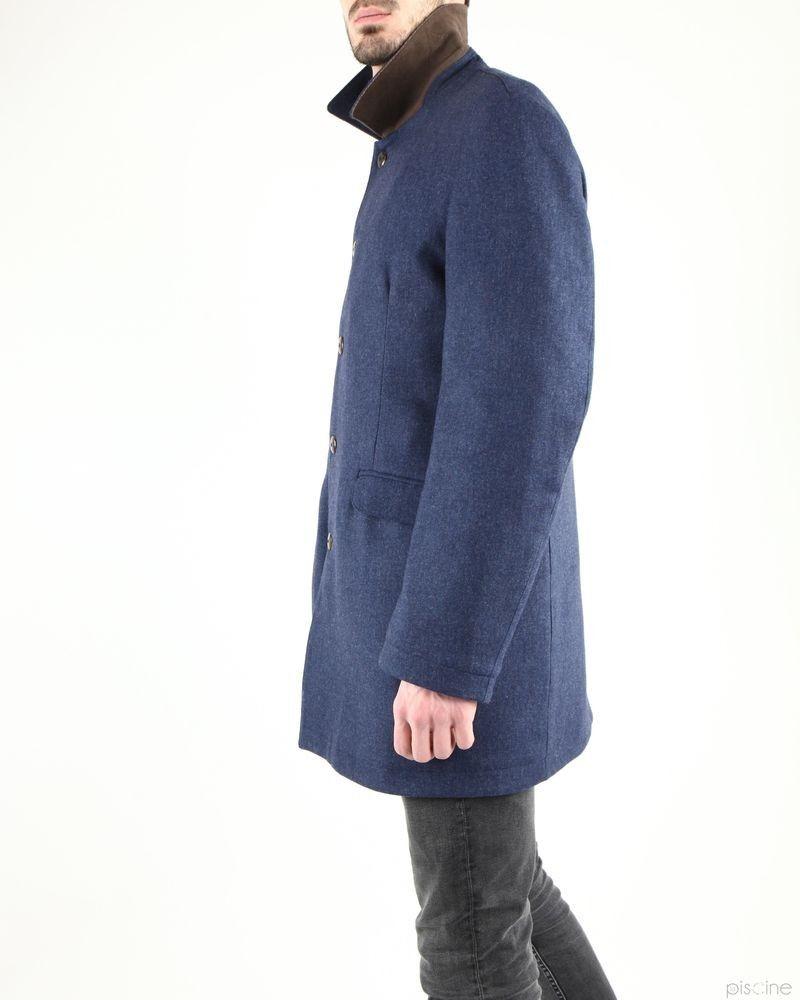 Manteau bleu habillé en laine Aquarama