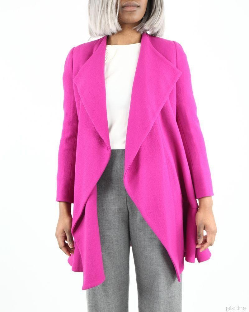 Manteau souple rose en laine Edward Achour