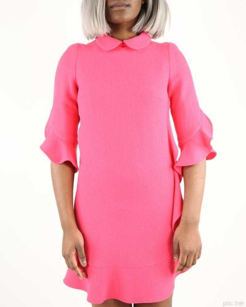 Robe rose à volant en laine Edward Achour