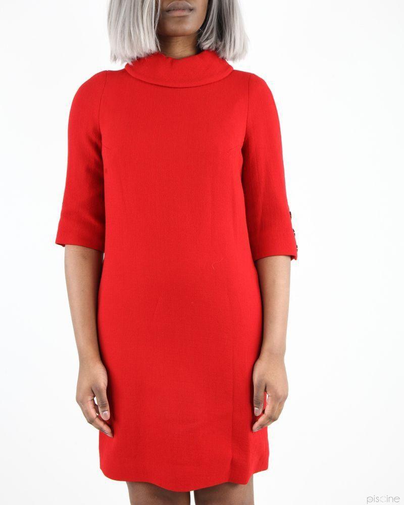 Robe rouge élégante à col roulé châle Edward Achour