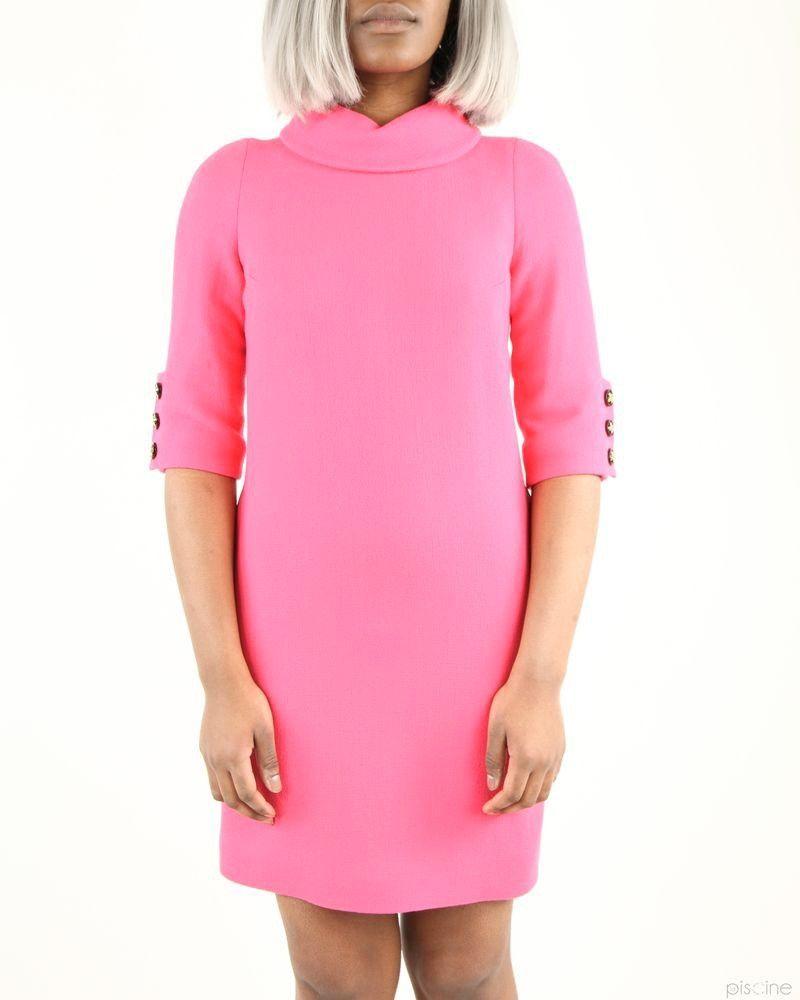 Robe rose élégante à col roulé châle Edward Achour