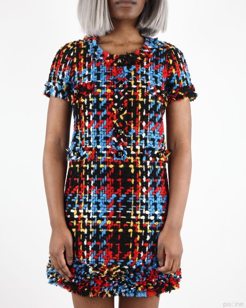 Robe tricolore habillée en tweed Edward Achour