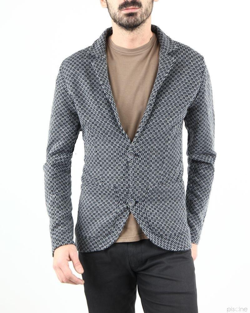 Veste grise fine à motif Woolgroup