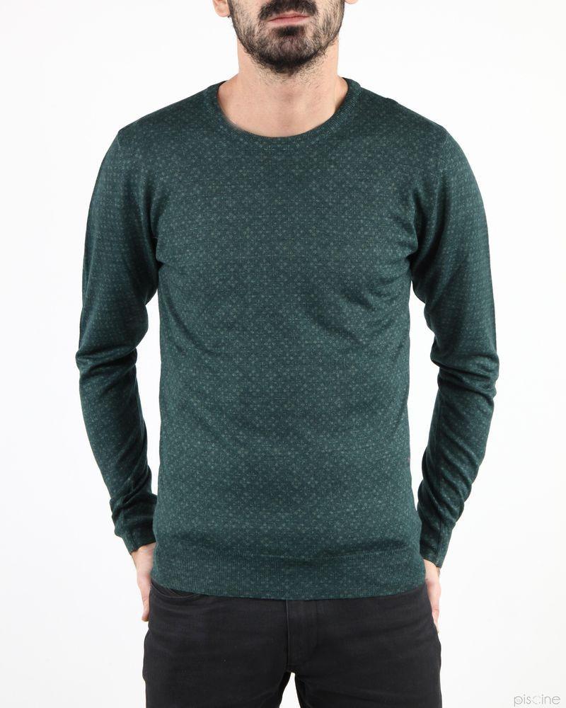 Pull fin vert à motifs Woolgroup
