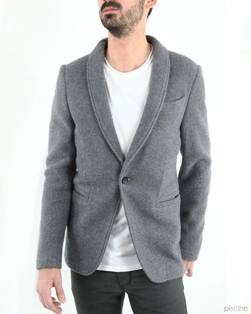 Veste grise en laine et cachemire Manostorti
