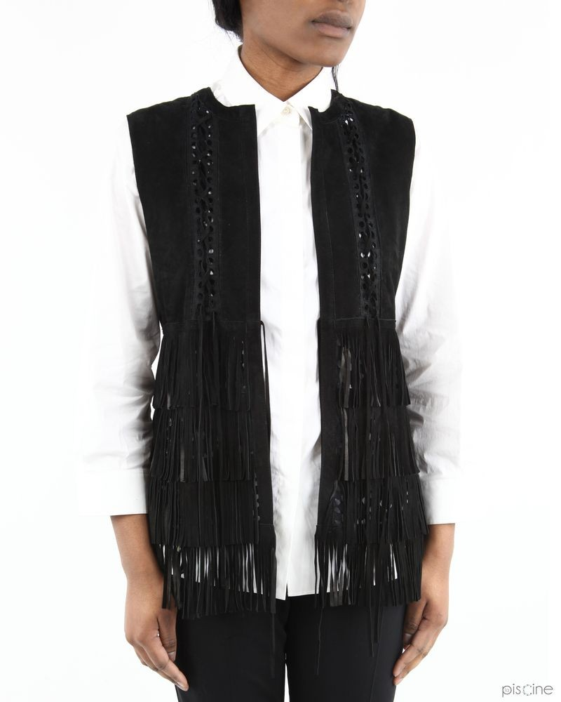 detailed look cf5a1 b809f Gilet noir sans manches à franges Space pas cher - Outlet La ...