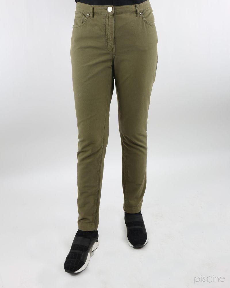 Pantalon skinny en coton kaki Maria Grazia Severi