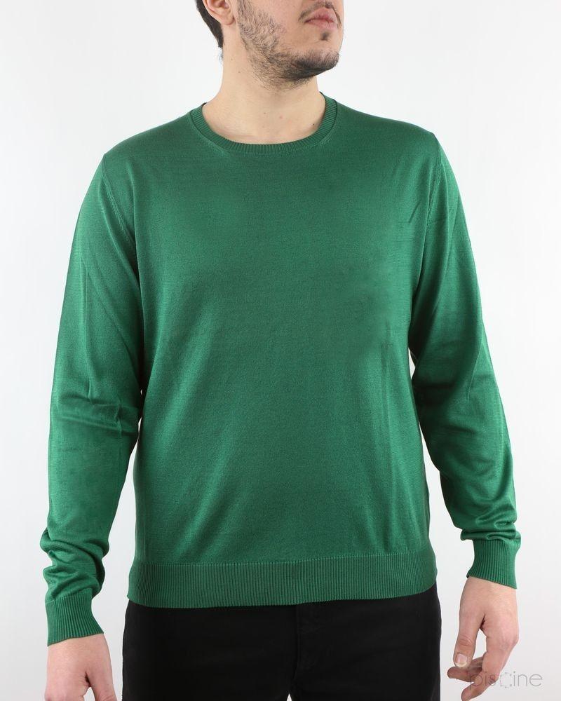 Pull vert en lin et coton Manostorti