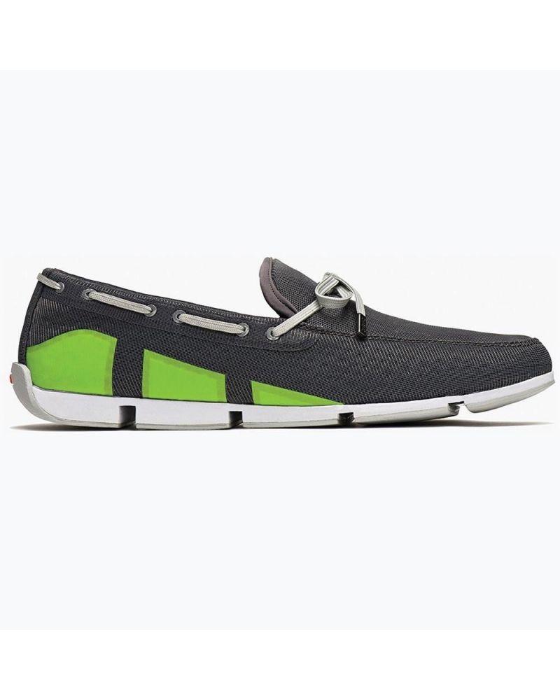 Chaussures bateau grises foncées et vertes style baskets Swims