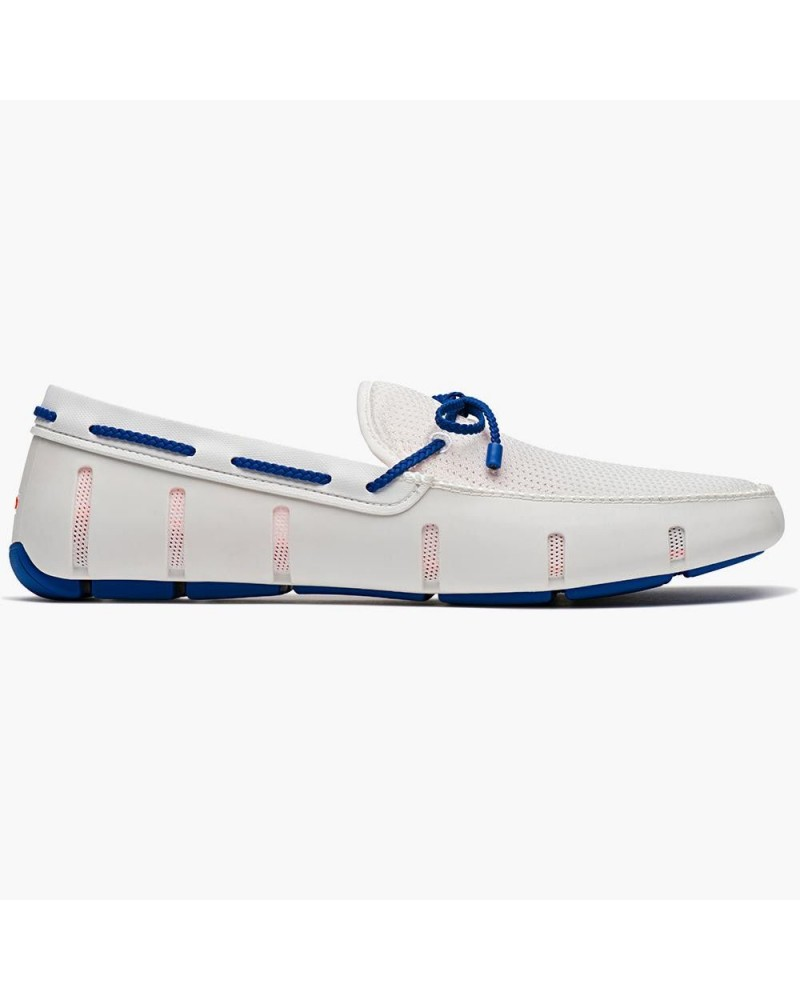 Chaussures bateau blanches et bleues Swims