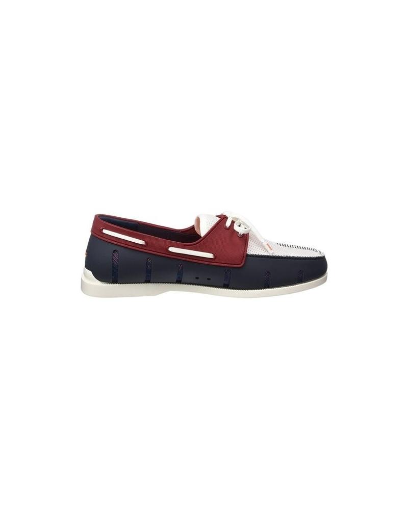 Chaussures bateau bleues et rouges Swims