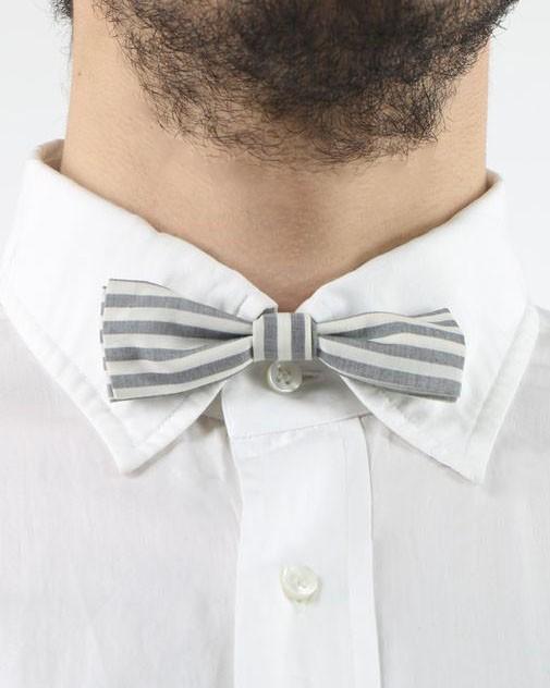 Noeud papillon rayé gris et blanc Mauro Grifoni