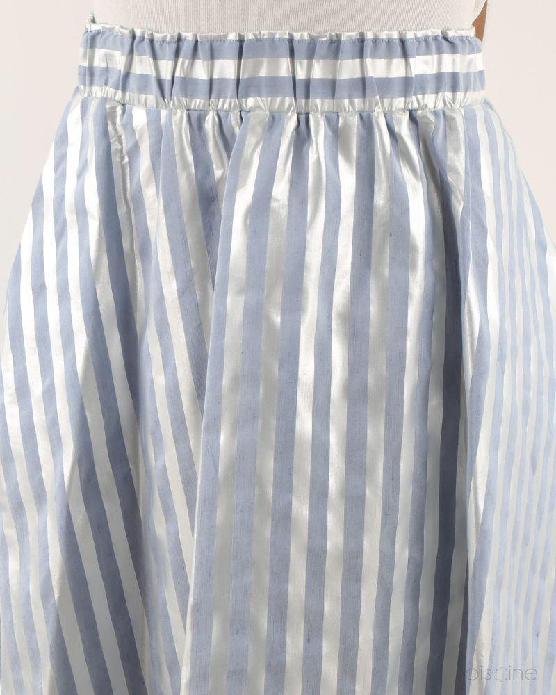 Jupe mi-longue rayée bleue et blanche effet lamé Jijil