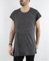 T-shirt gris asymétrique en coton Lost & Found