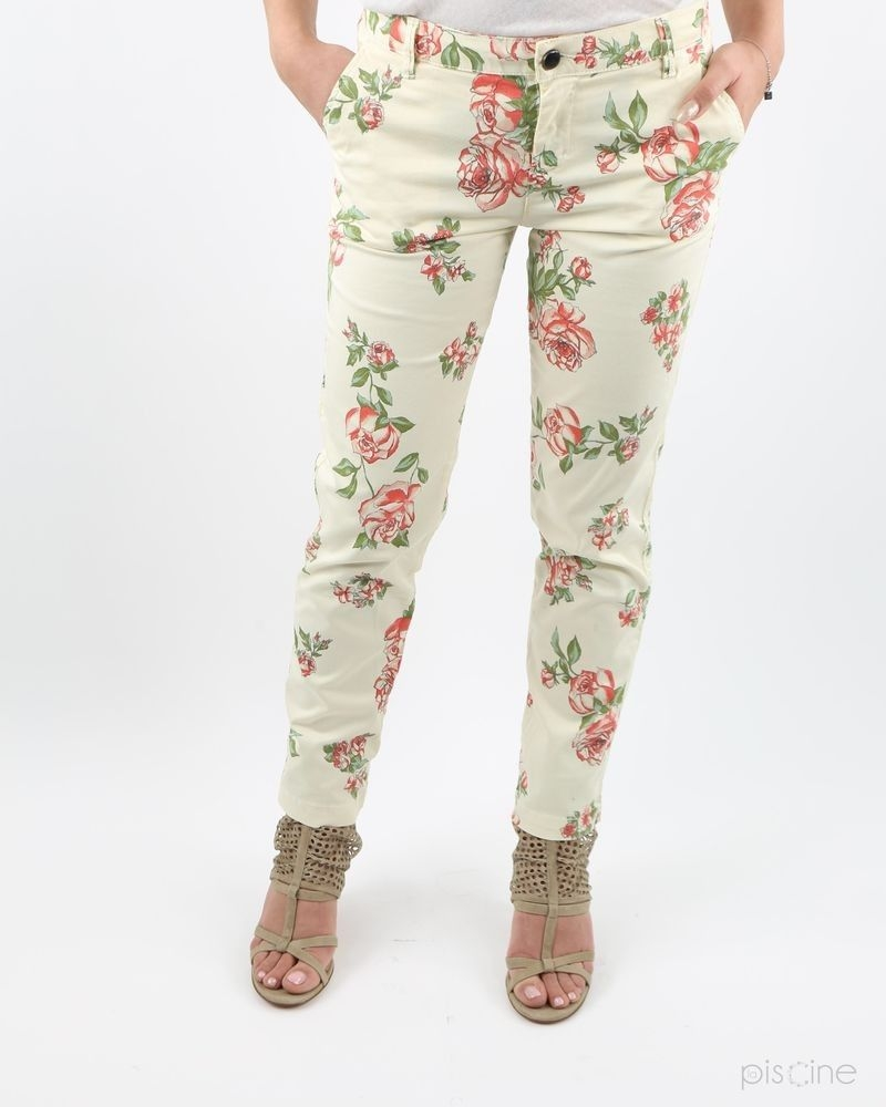 Pantalon beige fleuri May June