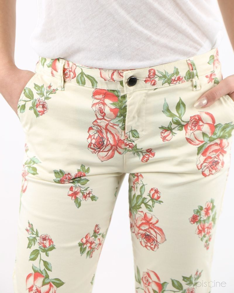 Pantalon beige fleuri May June