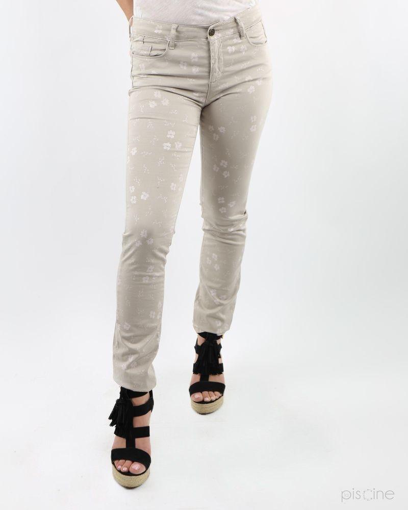 Pantalon beige avec fleurs May June