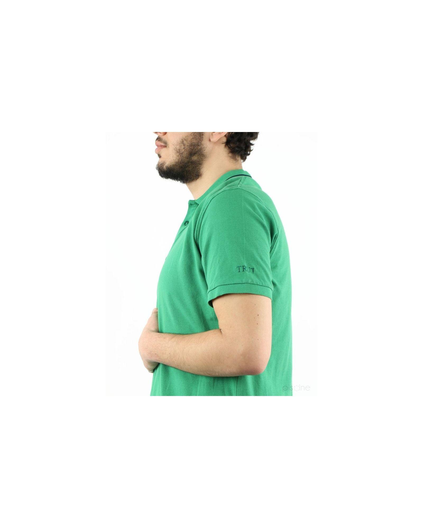 Polo vert en coton à bandes contrastantes Trussardi