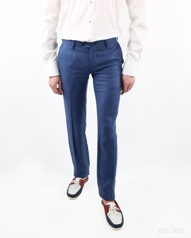 Pantalon bleu en lin Lords & Fools
