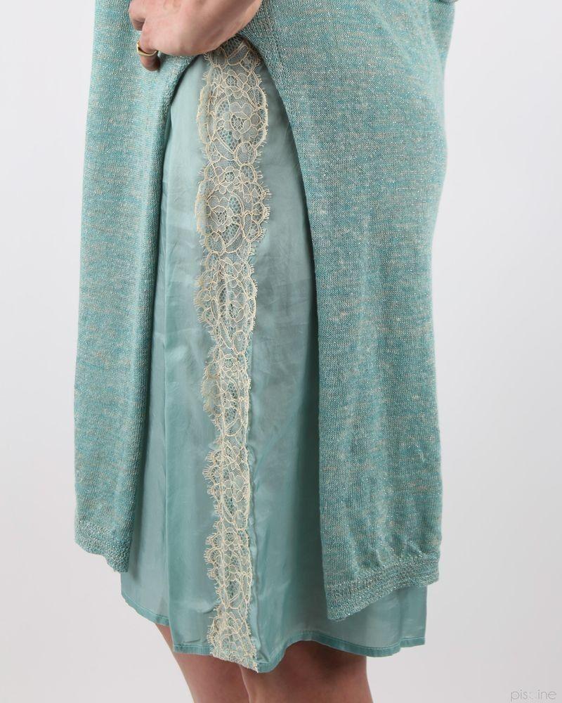 Robe turquoise bi-matière superposée A La Fois