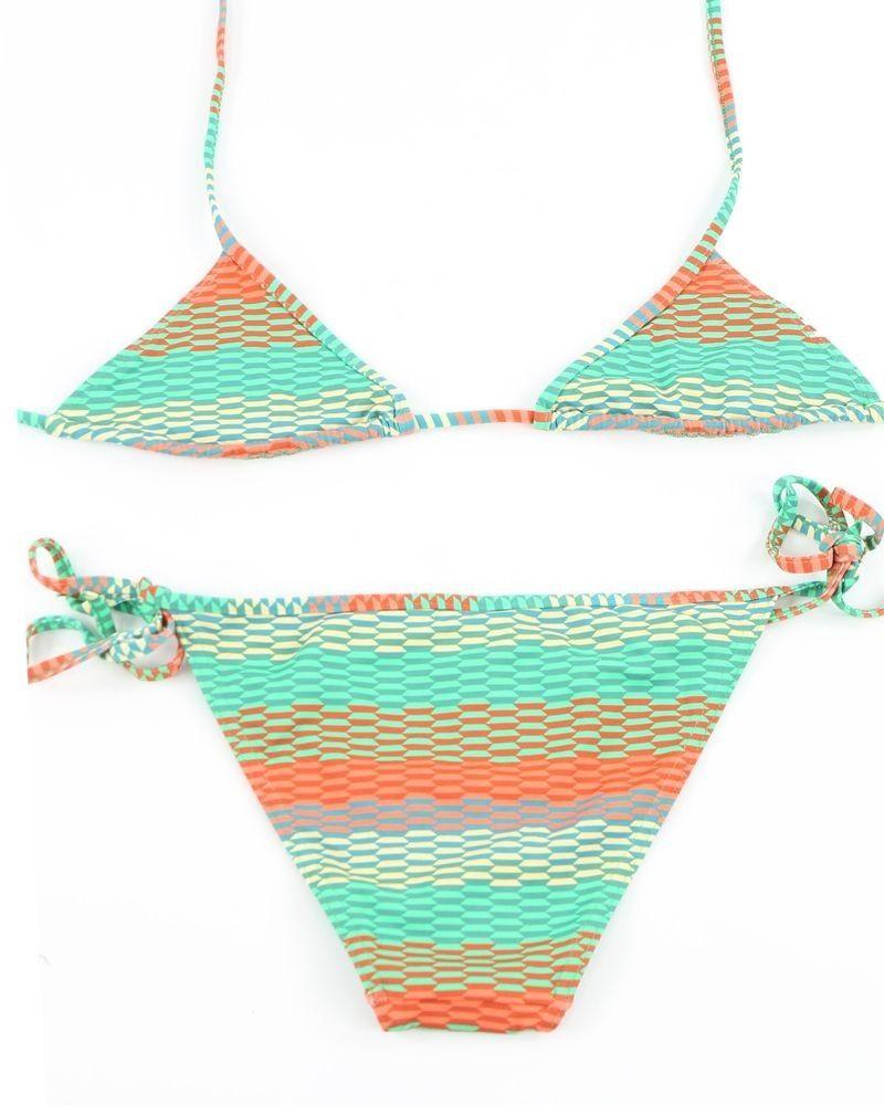 Bikini vert et corail Pamela de Beaumane
