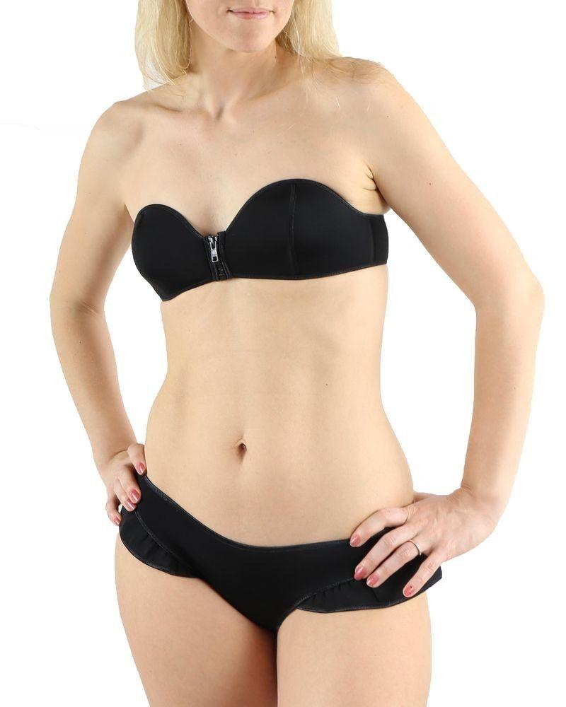 Bikini noir zippé en néoprène Pamela de Beaumane