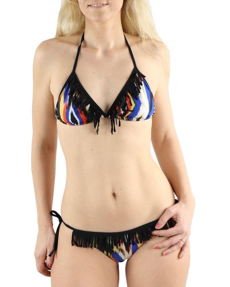 Bikini noir à franges Pamela de Beaumane