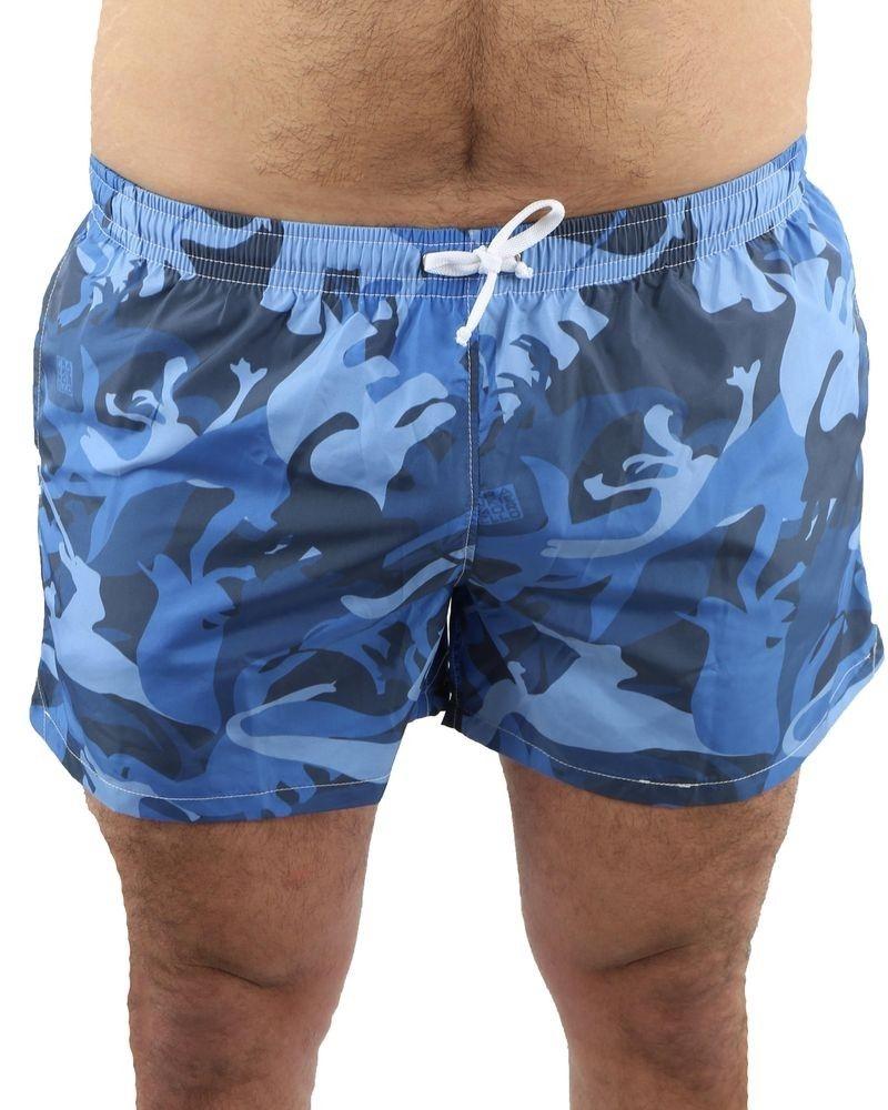 """Short de bain bleu """"camouflage"""" Frankie Morello"""