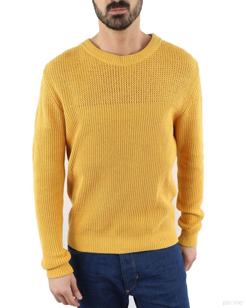 Pull jaune à mailles contrastantes Melinda Gloss Homme