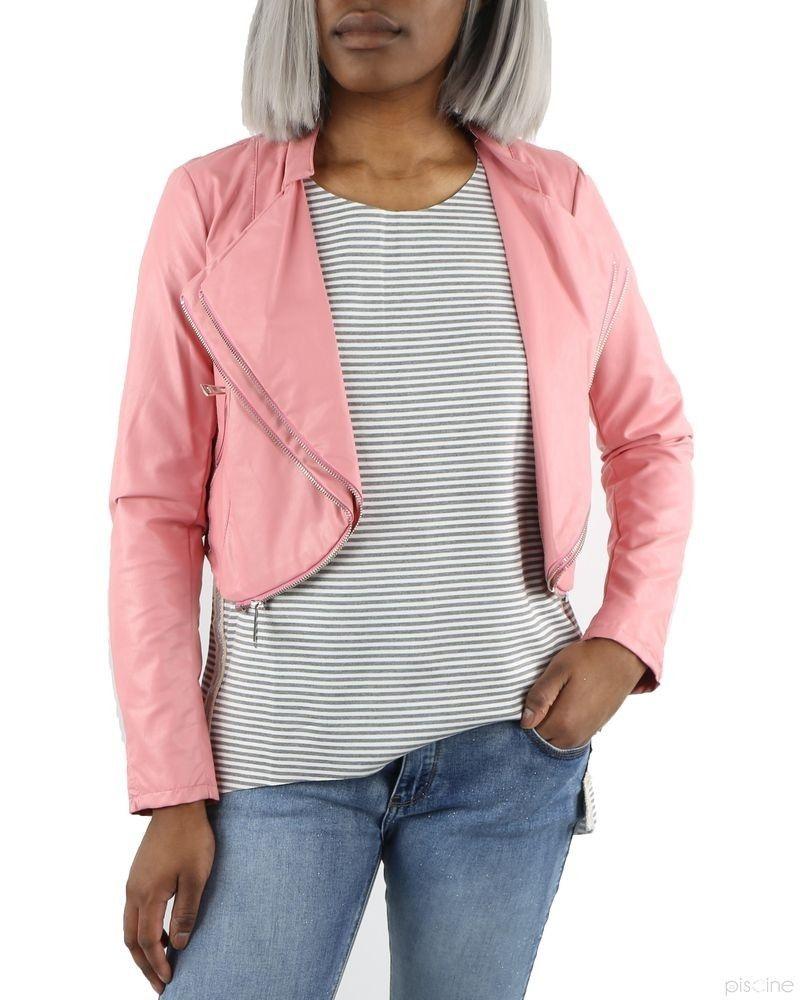 Veste courte multi zippée rose Jijil