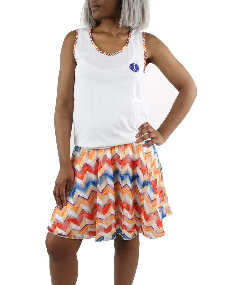 Robe blanche à motif zigzag coloré Jijil