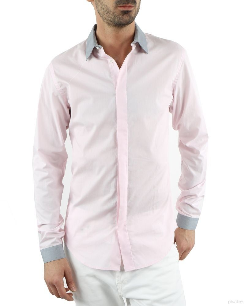 Chemise rose à bordures grises Ly Adams