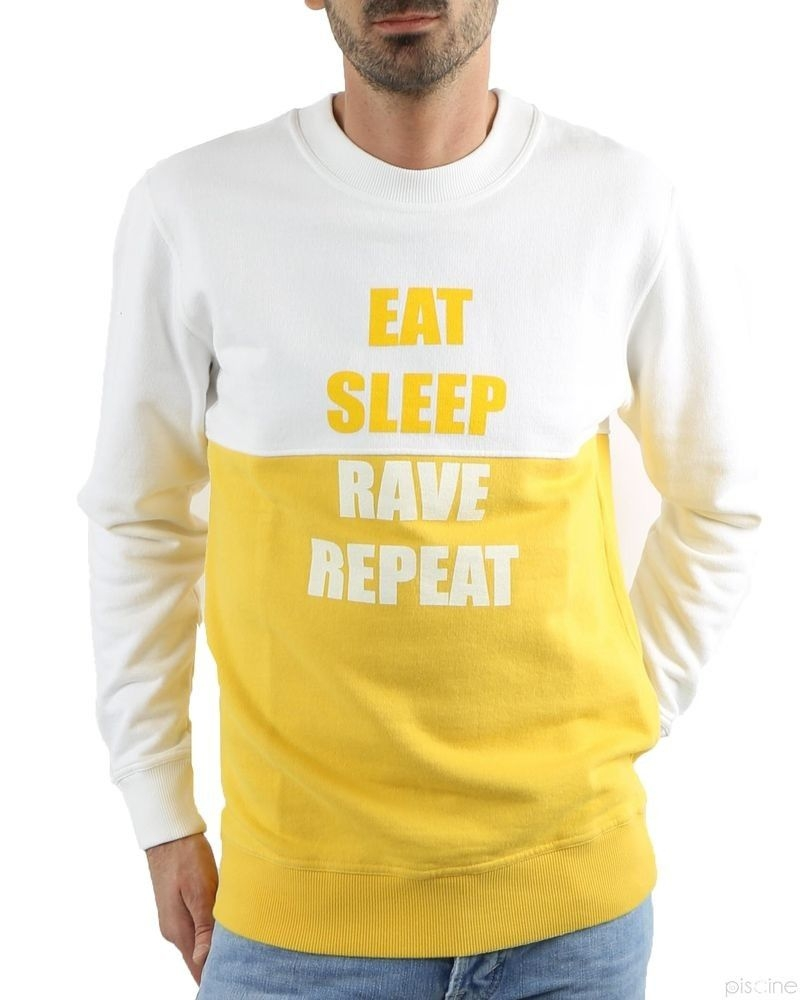 Sweat blanc et jaune message Department 5 Homme