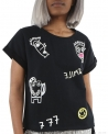 "Sweat noir ""Smile"" manches courtes SVNTY"