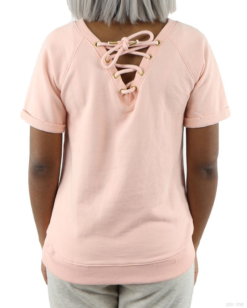 Sweat rose avec applications sans manches SVNTY