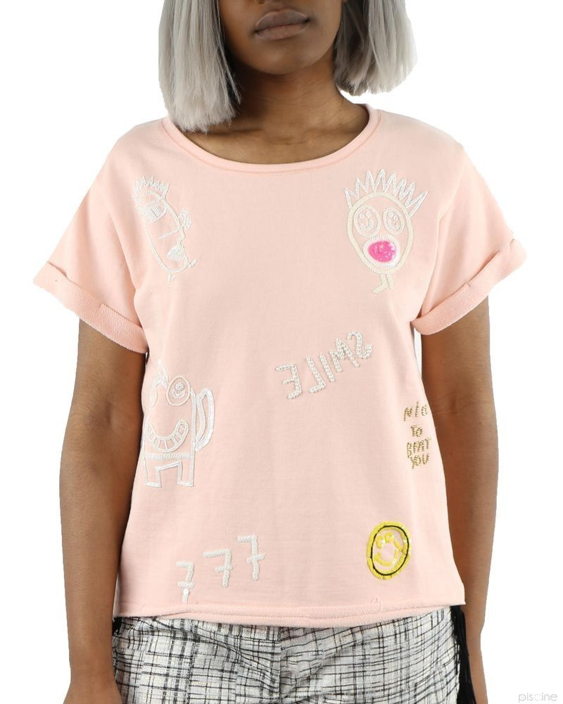 "Sweat rose ""Smile"" manches courtes SVNTY"