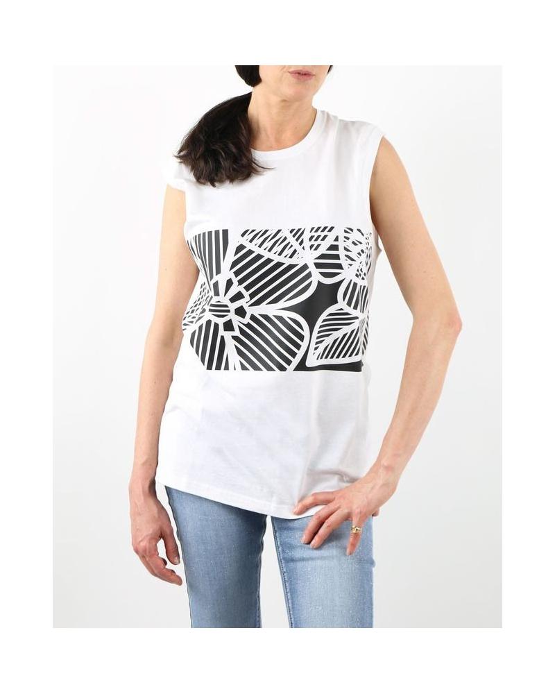 T-Shirt blanc en coton à motif fleuri abstrait en coton Nude