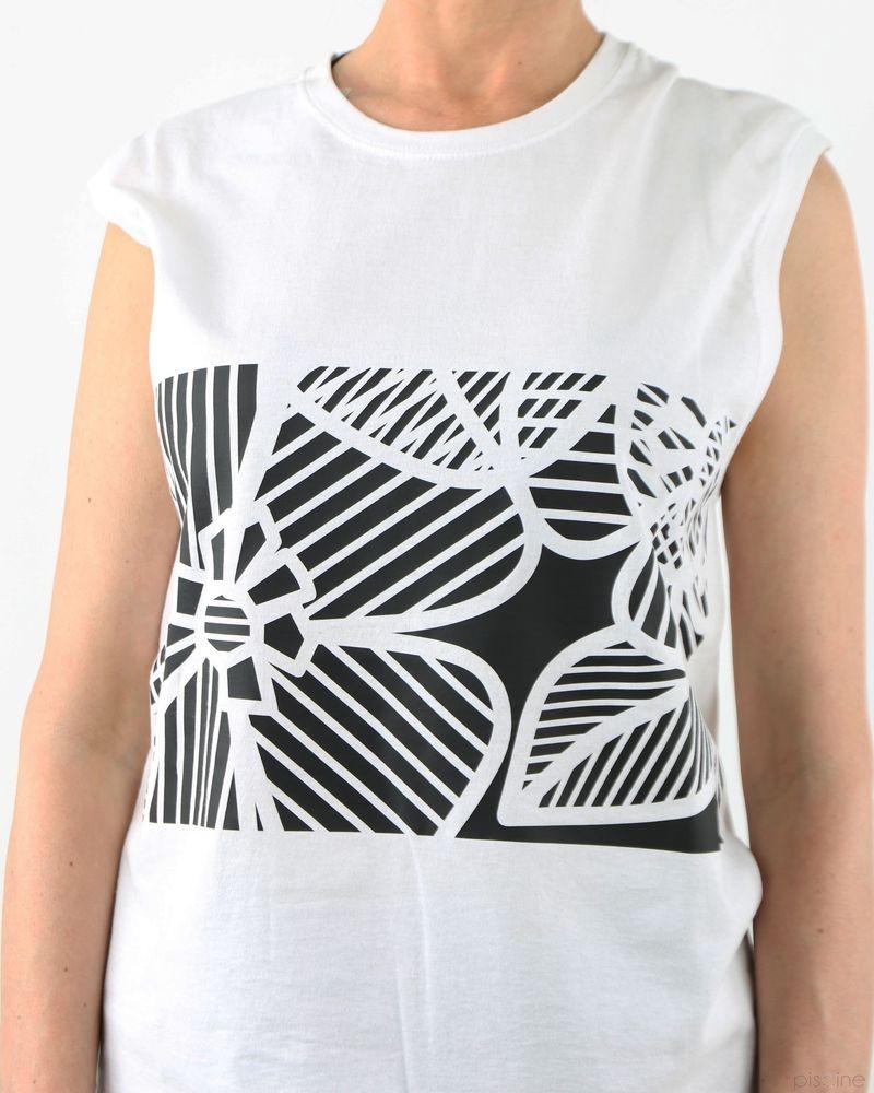 T-Shirt blanc sans manches Nude