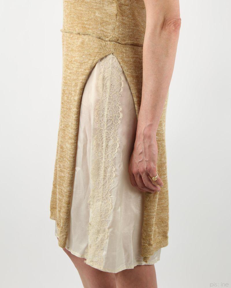 Robe beige bi-matière superposée A La Fois