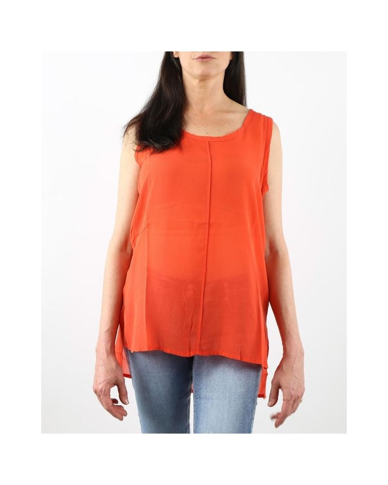 Top orange en soie Nude