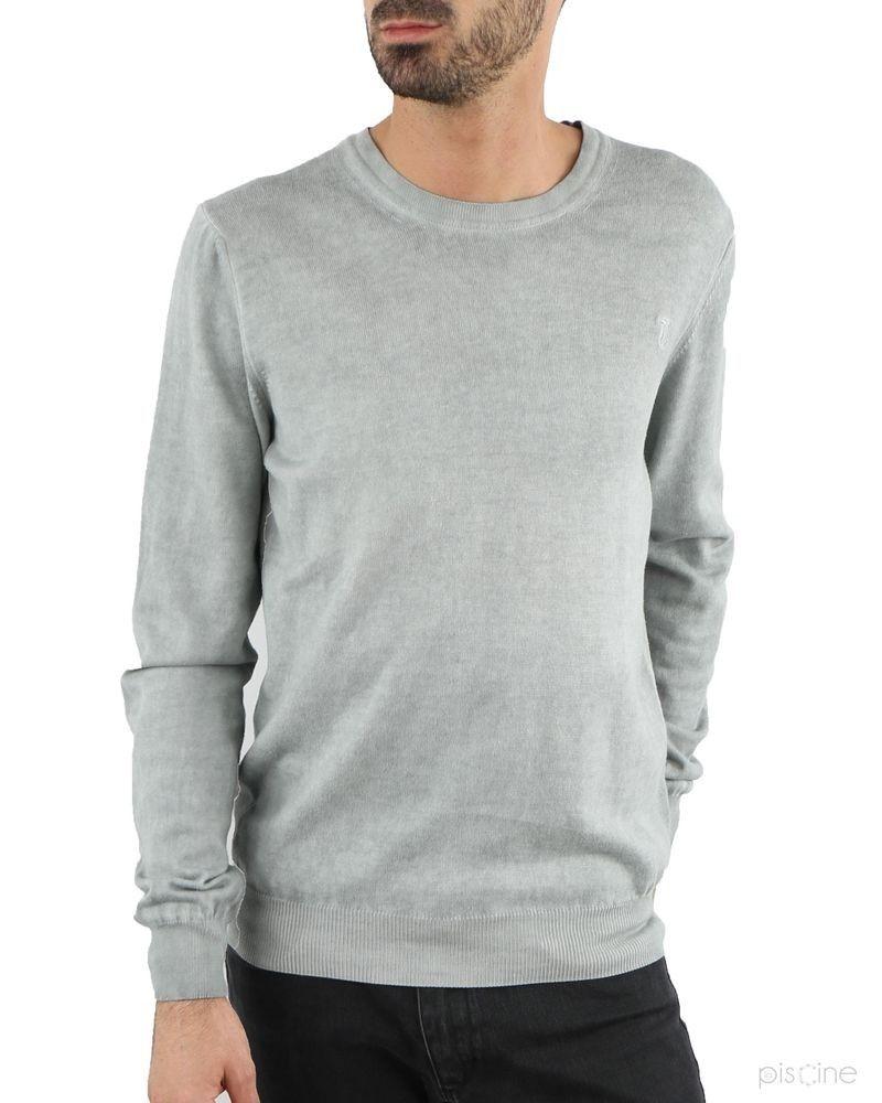 Pull gris fin effet en coton Trussardi