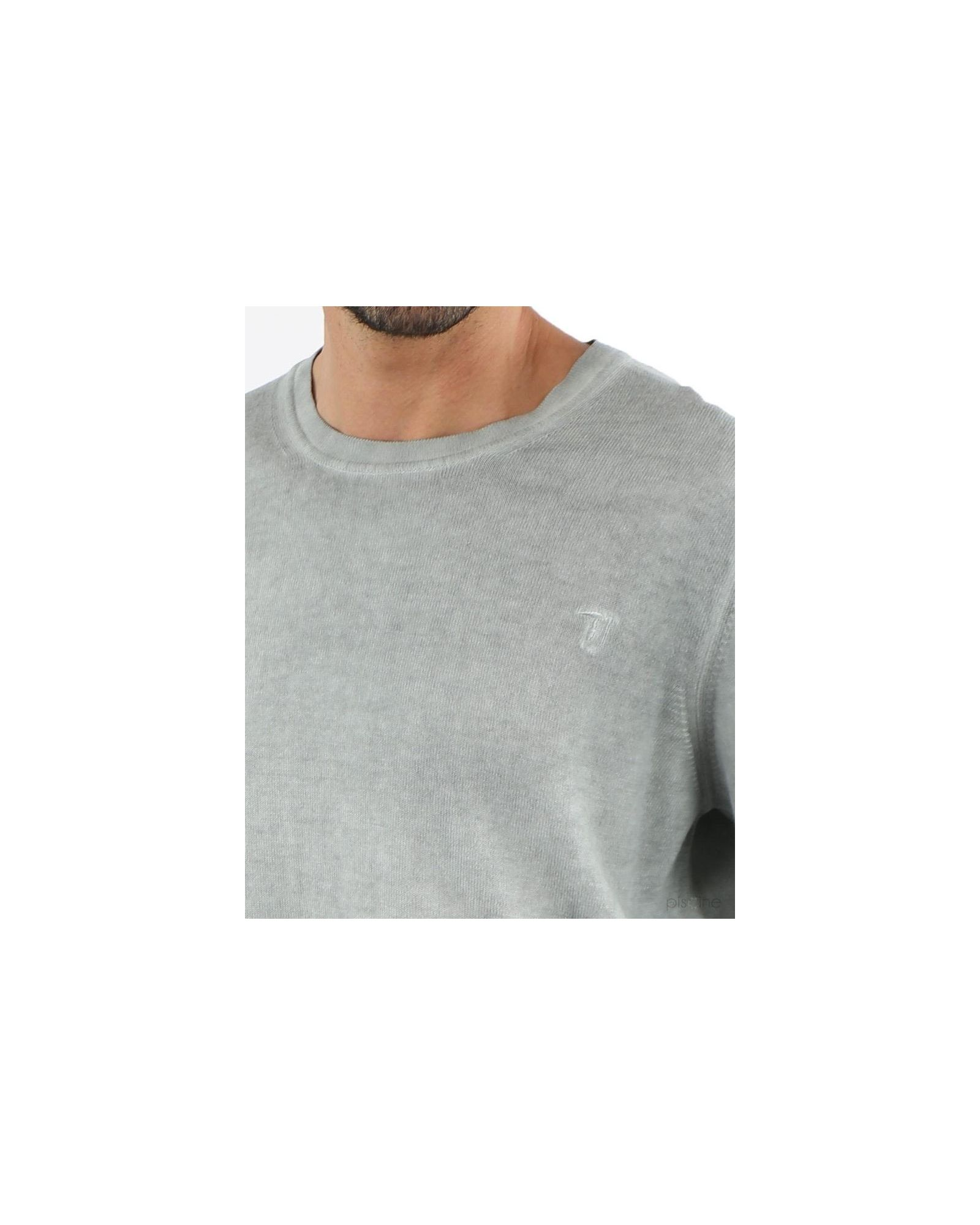Pull gris col rond Trussardi Homme
